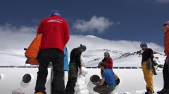 Base camp climbers preparing to storm the mountain.  Elbrus. Eco travel. Stock Footage
