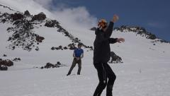 Duel game snowballs. Elbrus. Eco travel. - stock footage