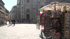 Souvenir stall at the Cathedral of Florence Stock Footage