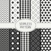 Stock Illustration of Set of geometric monochrome seamless pattern with rhombus, square. Wrapping