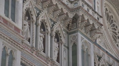 Cathedral of Florence, details statues Stock Footage