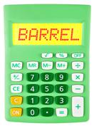 Calculator with BARREL on display Stock Photos