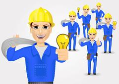 technical, electrician or mechanic in poses - stock illustration