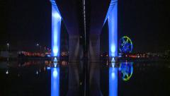 Columns to Ferris wheel Reflections (Wide Reveal) Stock Footage