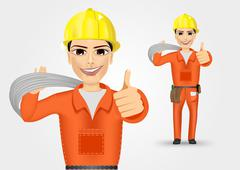 electrician giving thumbs up - stock illustration