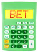 Calculator with BET on display - stock photo