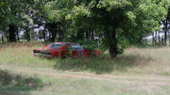Abandoned rusted General Lee car Stock Footage