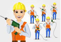 Set of technical, electrician or mechanic Stock Illustration