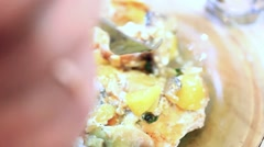 Roasted potatoes on a plate, Fork touches potatoes Stock Footage