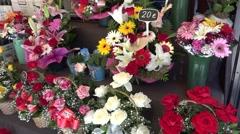 Flowers for sale -las ramblas in barcelona city -spain Stock Footage