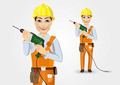 electrician or mechanic holding electric drill - stock illustration