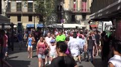 People on las ramblas in barcelona city -spain Stock Footage