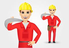 portrait of technical, electrician or mechanic - stock illustration