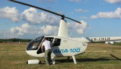 Helicopter prepared for flight, the engine running Stock Footage