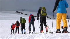Climbers ascend Mount Elbrus. The mountains Stock Footage