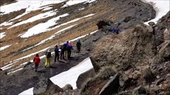 Stock Video Footage of The process of adaptation to mountain conditions. Slow motion. Elbrus.