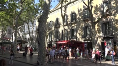 People walking on the las ramblas in barcelona city -spain Stock Footage