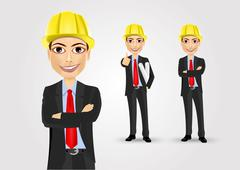 male engineer with crossed arms - stock illustration