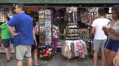 Tourist kiosk  on the las ramblas in barcelona city -spain Stock Footage