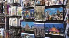 Postcards sale on las ramblas in barcelona city -spain Stock Footage