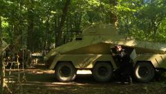 WWII German Armored Vehicle in woods - stock footage