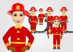 firefighters in uniform with fire hose - stock illustration