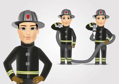 firefighter in black uniform with fire hose - stock illustration