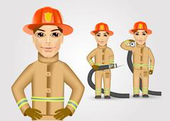 firefighter in brown uniform holding fire hose - stock illustration