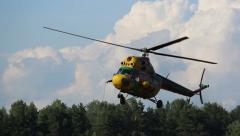 Helicopter flying, rescue operation Stock Footage