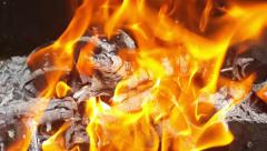 closeup fire flame in brazier - stock footage