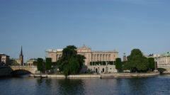 Parliament House in Stockholm Sweden Stock Footage