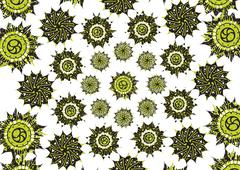 Decorative floral pattern motif, easy to edit color the vector eps file. Stock Illustration