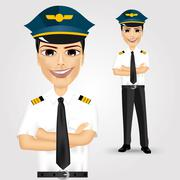 friendly pilot with crossed arms - stock illustration