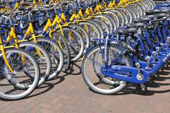 OV rent bikes from the Dutch Railways. - stock photo