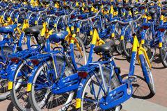 OV rent bikes from the Dutch Railways. - stock photo
