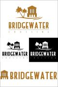 A logo icon of a bridge over water. - stock illustration