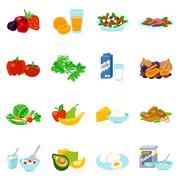 Healthy Food Flat Icons Set Piirros