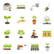 Seedling Flat Icons Set Stock Illustration
