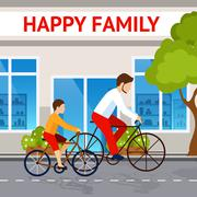Dad And Son On Bicycles Stock Illustration