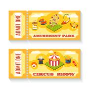 Stock Illustration of Two vintage amusement park tickets set