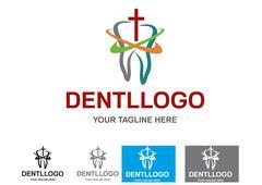 Illustration of dental logo design isolated on white background. - stock illustration