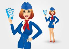 stewardess holding tickets - stock illustration
