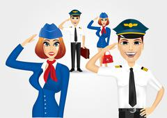 stewardess and pilot saluting - stock illustration