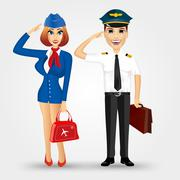beautiful stewardess and handsome pilot - stock illustration