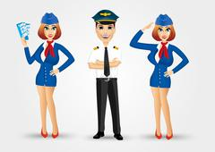 two beautiful stewardesses and handsome pilot - stock illustration