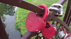 Red heart-shaped lock Stock Footage