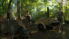 WWII German Field Kitchen and officer Stock Footage