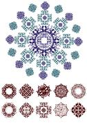 Decorative floral pattern motif, easy to edit color the vector eps file. - stock illustration