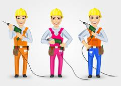 set of three technical, electrician or mechanic - stock illustration