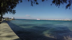Sea coast near Rhodes port, Dodecanese, Greece. 4K Stock Footage